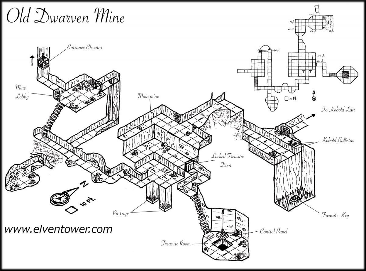 Map 36 - Old dwarven Mine | Elven Tower Mine Map on