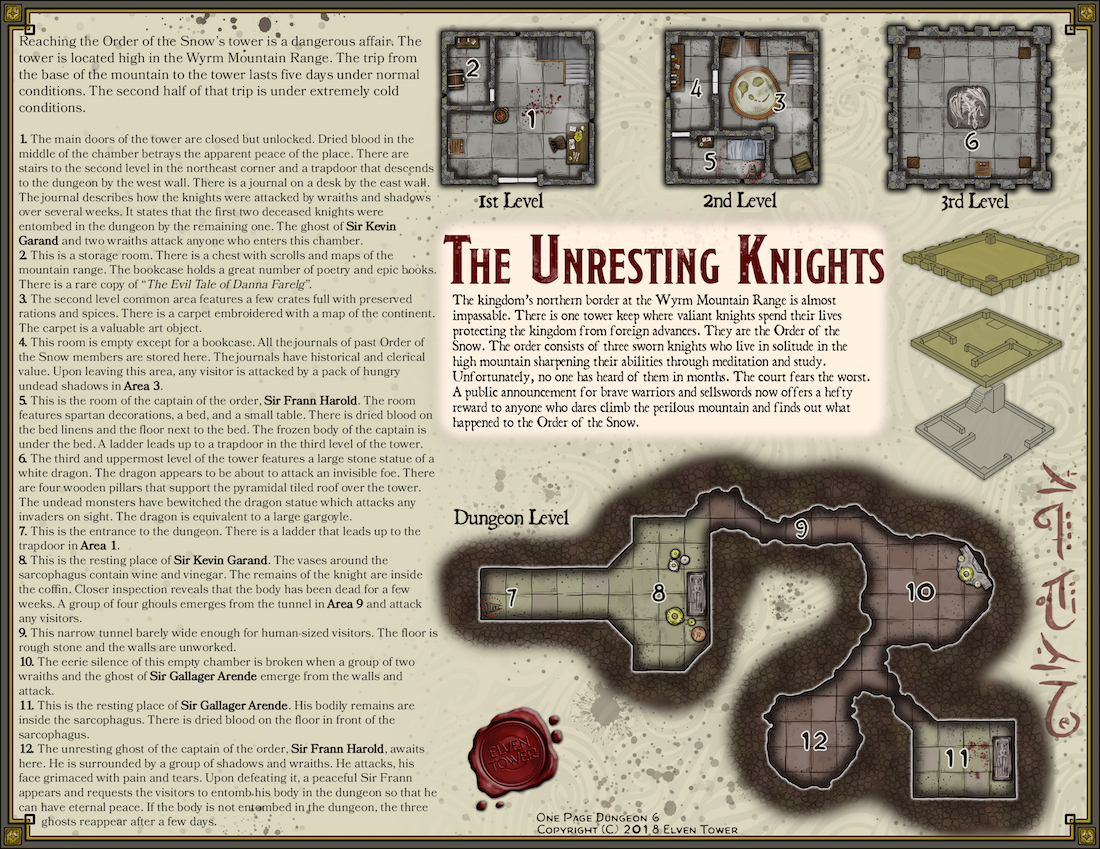 One-Page Dungeon 6 – The Unresting Knights