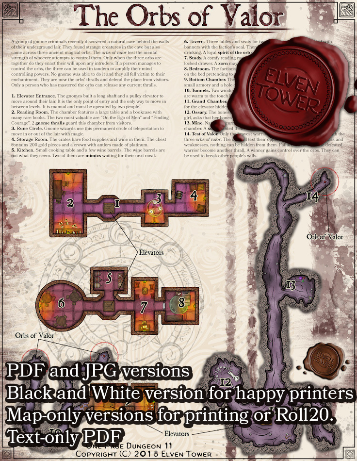 One Page Dungeon 11 – Orbs of Valor – Patreon Exclusive