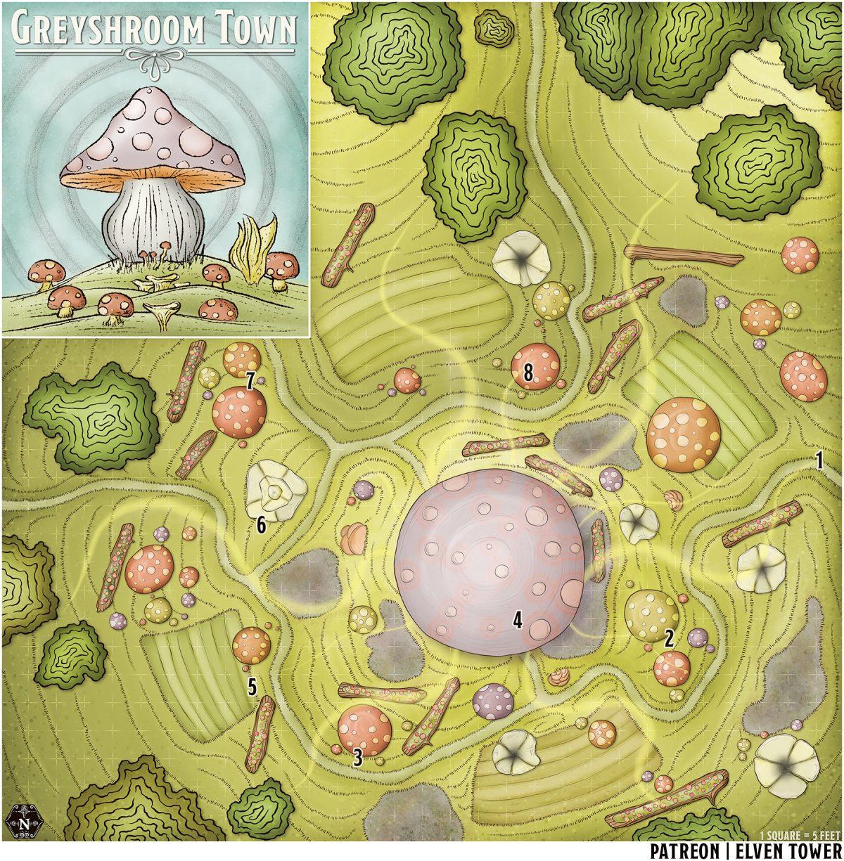 Hexcrawl Series No. 19 – Greyshroom Town